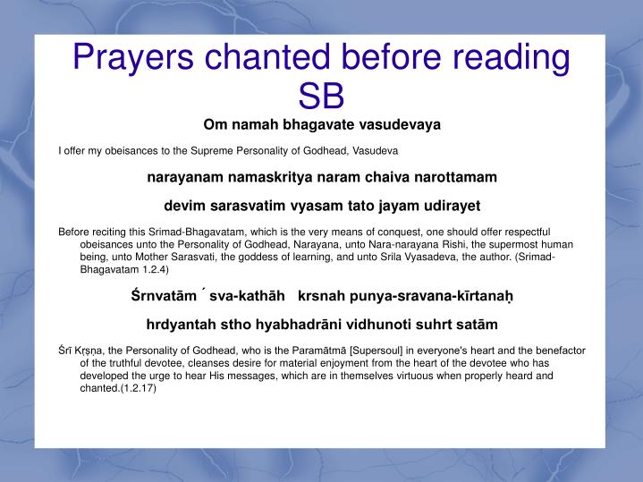 Prayers chanted before reading sb