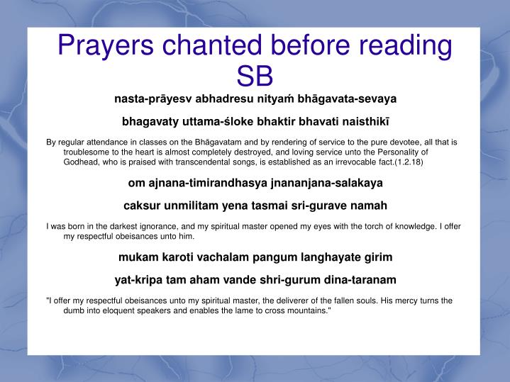 Prayers chanted before reading sb1