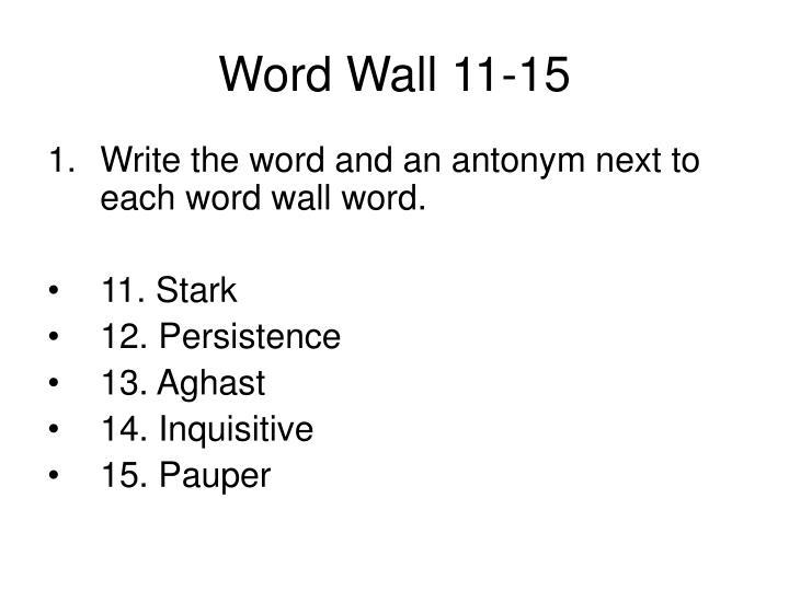 Word Wall 11-15