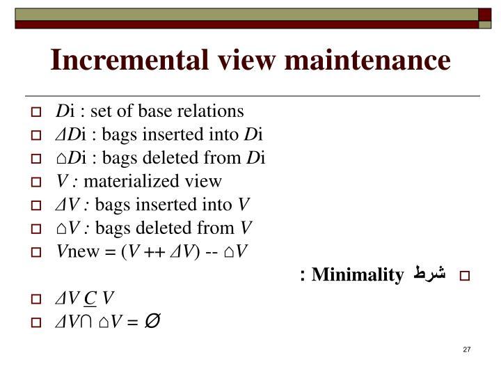 Incremental view maintenance