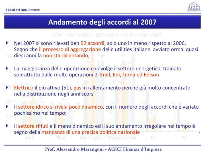 Andamento degli accordi al 2007