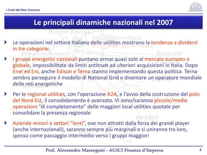 Le principali dinamiche nazionali nel 2007