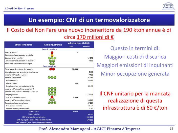 Un esempio: CNF di un termovalorizzatore