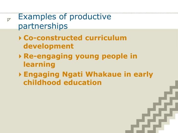 Examples of productive partnerships