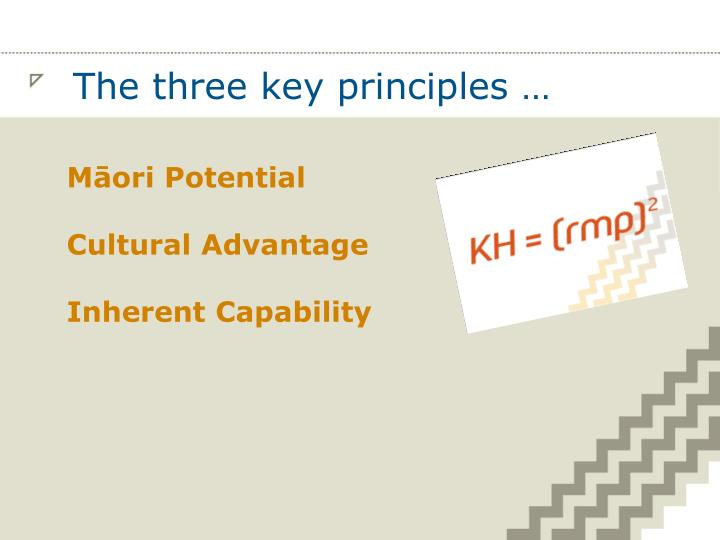 The three key principles …