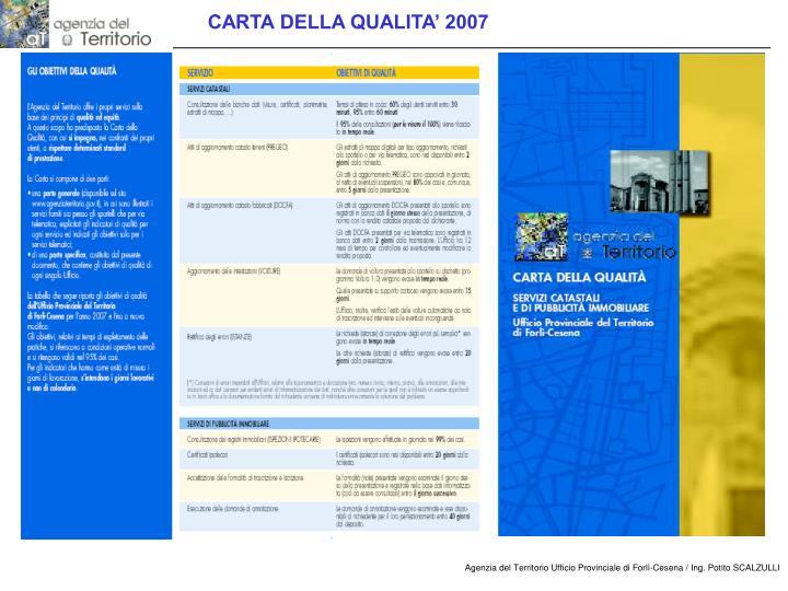 CARTA DELLA QUALITA' 2007