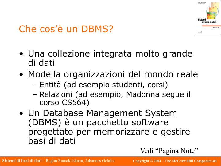 Che cos'è un DBMS?