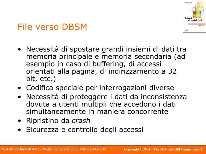 File verso DBSM