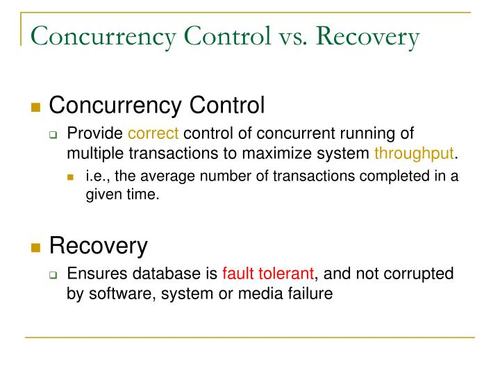Concurrency control vs recovery