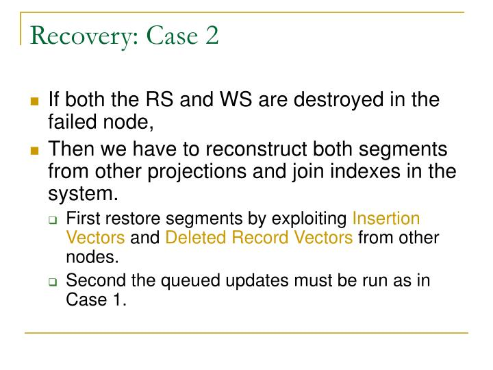 Recovery: Case 2