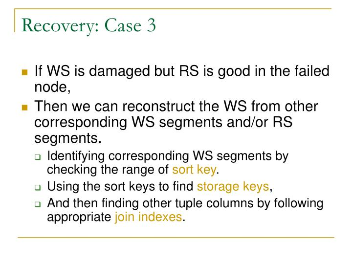 Recovery: Case 3