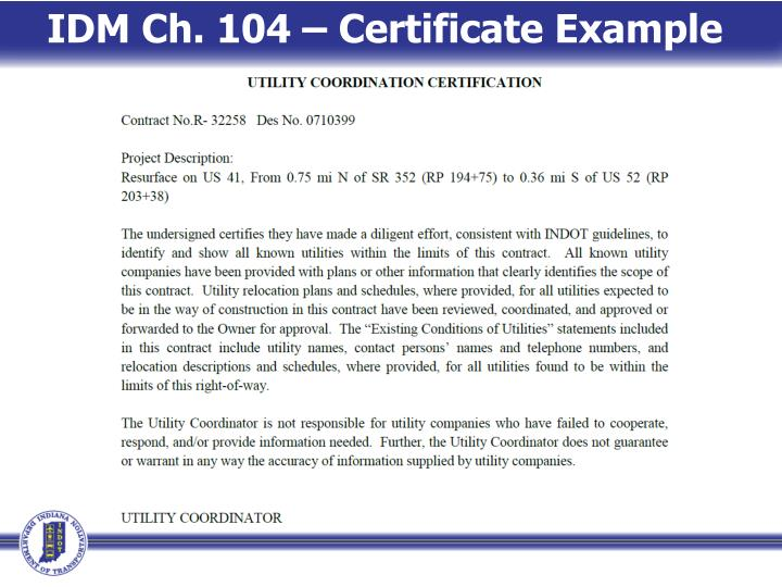 IDM Ch. 104 – Certificate Example