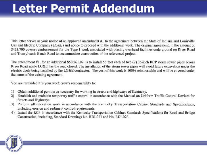 Letter Permit Addendum