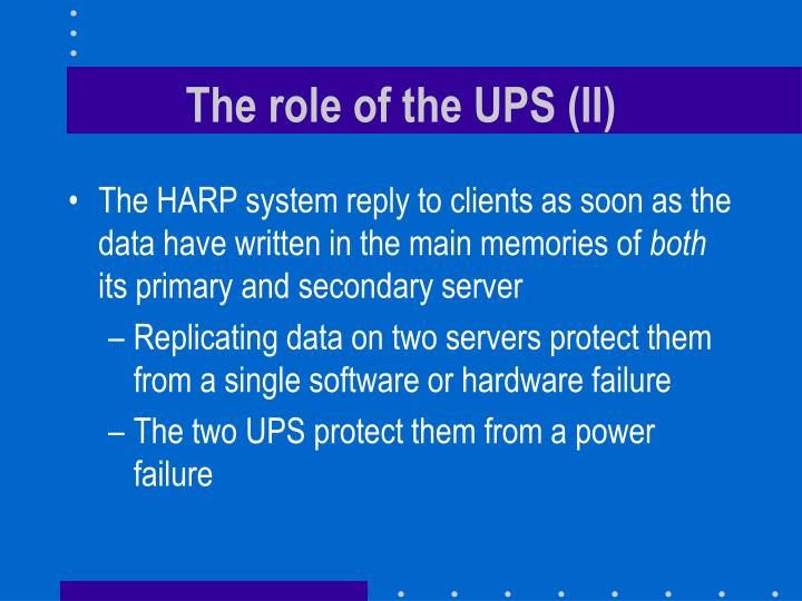 The role of the UPS (II)