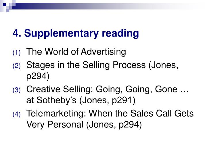 4. Supplementary reading