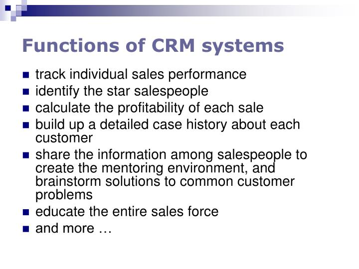 Functions of CRM systems