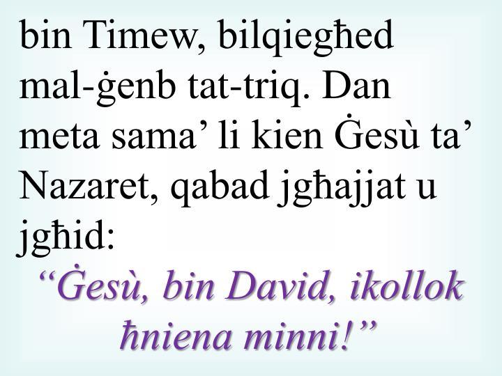 bin Timew, bilqiegħed mal-ġenb