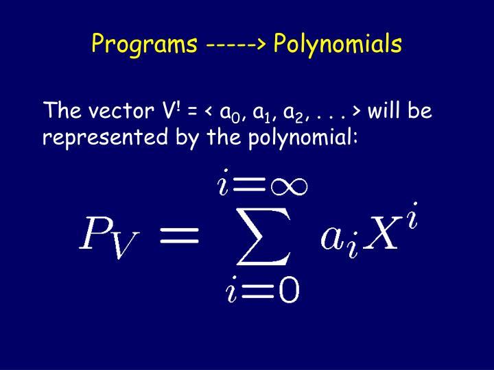 Programs -----> Polynomials