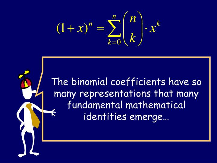 The binomial coefficients have so many representations that many fundamental mathematical identities emerge…