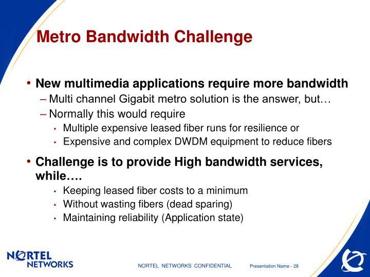 Metro Bandwidth Challenge