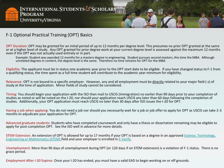 F-1 Optional Practical Training (OPT) Basics
