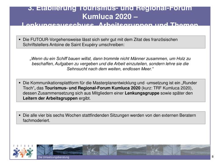 3. Etablierung Tourismus- und Regional-Forum Kumluca 2020 –