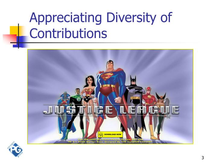 Appreciating diversity of contributions