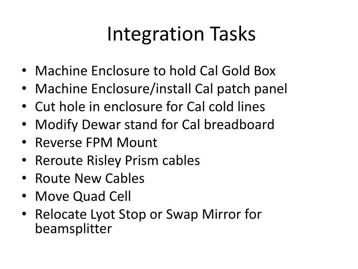 Integration Tasks