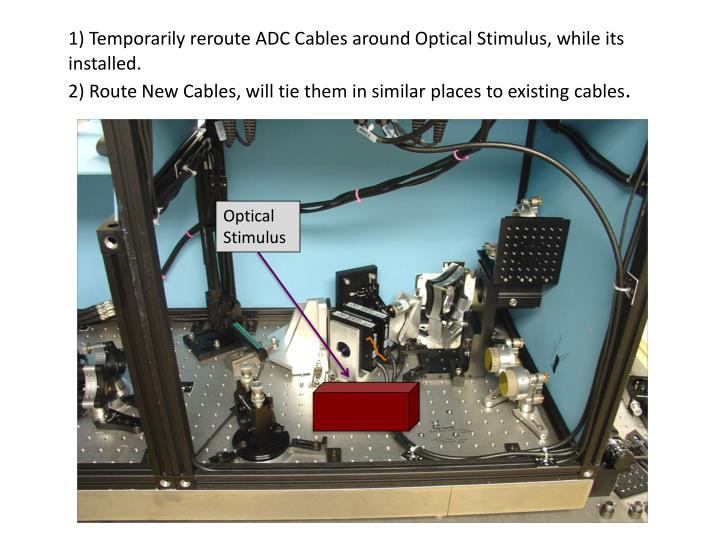 1) Temporarily reroute ADC Cables around Optical Stimulus, while its installed.