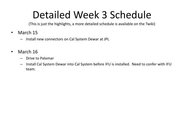 Detailed Week 3 Schedule