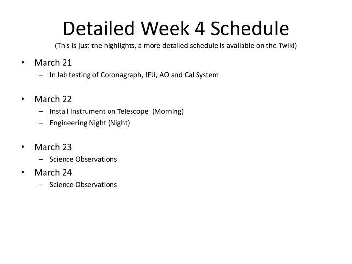 Detailed Week 4 Schedule