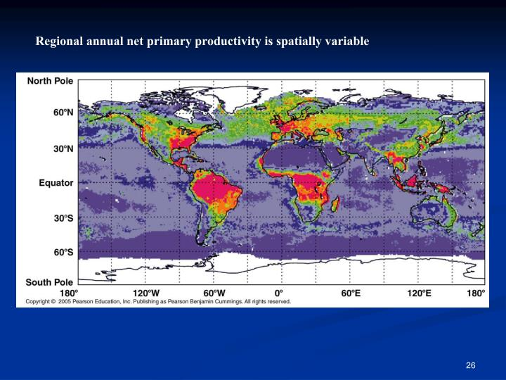 Regional annual net primary productivity is spatially variable