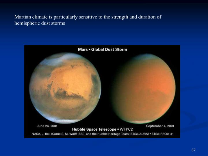 Martian climate is particularly sensitive to the strength and duration of hemispheric dust storms