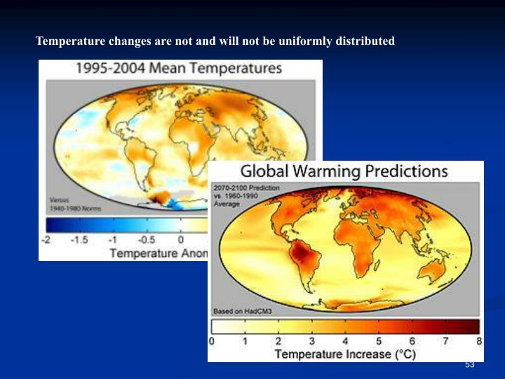 Temperature changes are not and will not be uniformly distributed