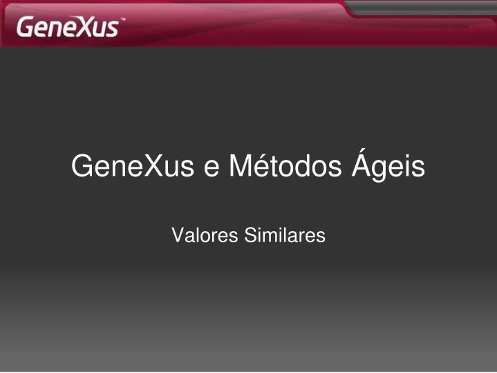 GeneXus e Métodos Ágeis