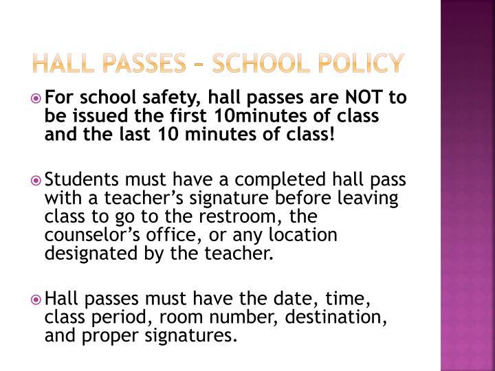 Hall Passes – School Policy