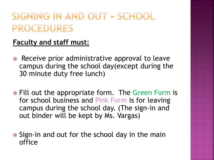 Signing in and out - school procedures