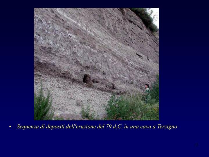 Sequenza di depositi dell'eruzione del 79 d.C. in una cava a Terzigno