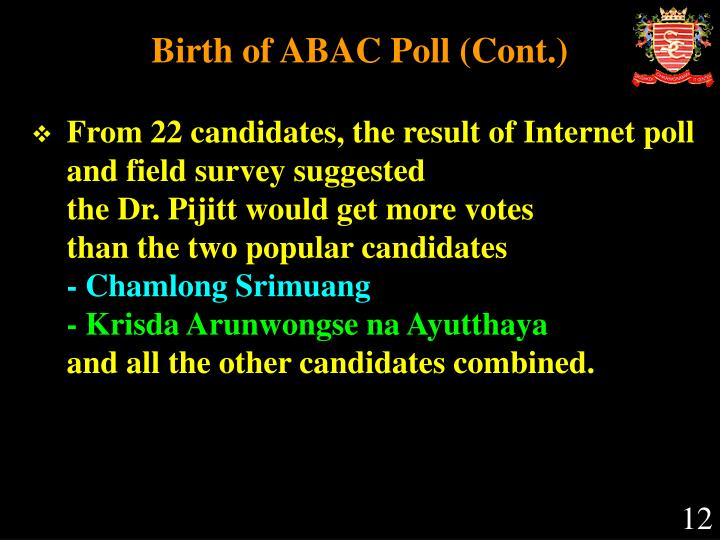 Birth of ABAC Poll (Cont.)