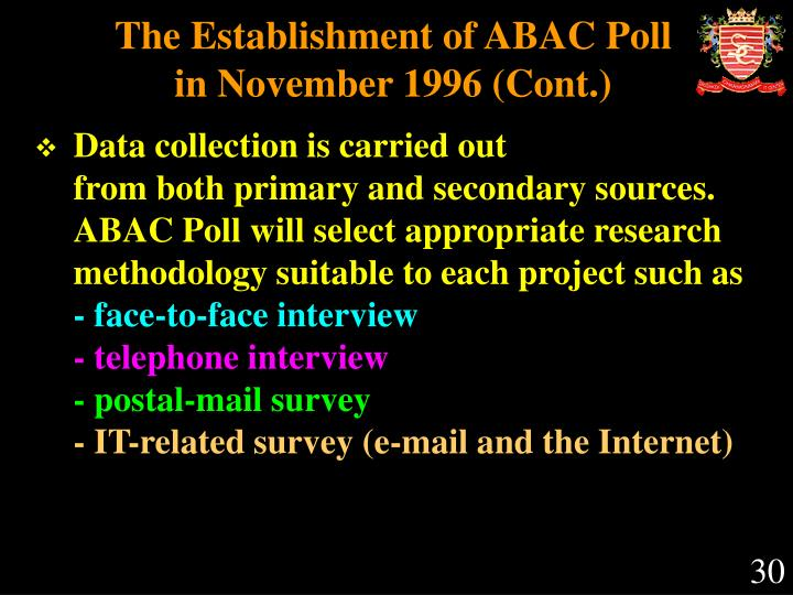 The Establishment of ABAC Poll