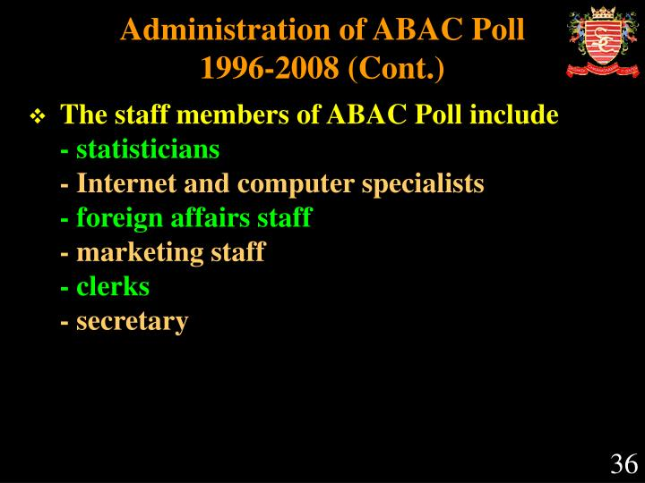 Administration of ABAC Poll