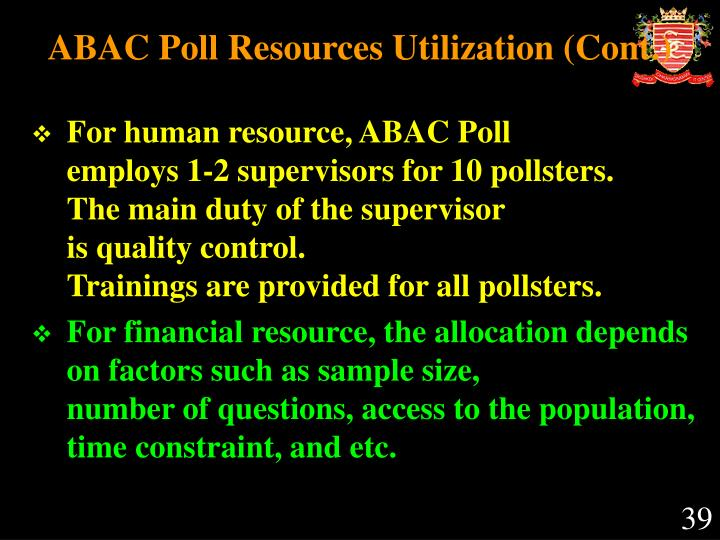 ABAC Poll Resources Utilization
