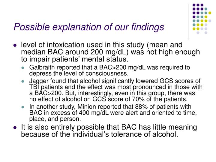 Possible explanation of our findings