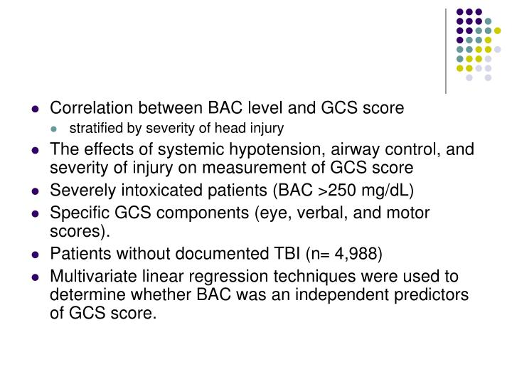 Correlation between BAC level and GCS score