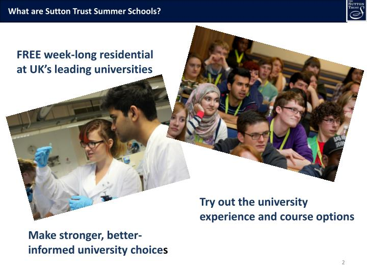 What are Sutton Trust Summer Schools?