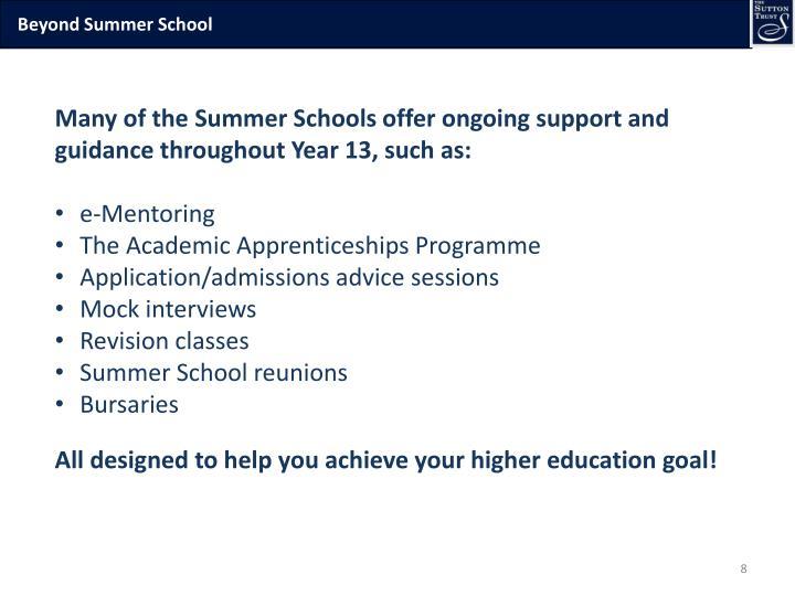 Beyond Summer School