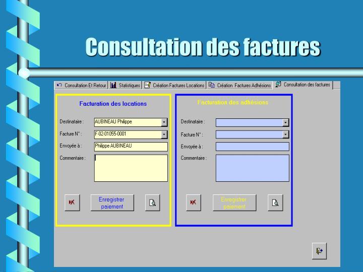 Consultation des factures