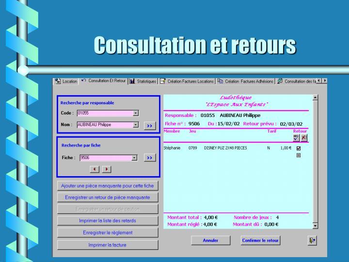 Consultation et retours