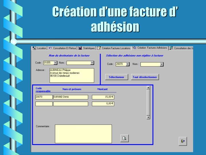 Création d'une facture d' adhésion