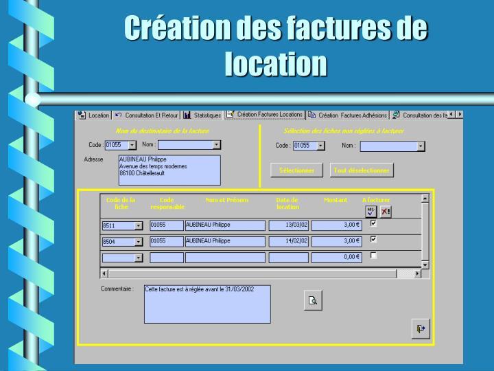 Création des factures de location